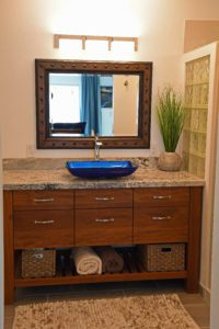 Custom Teak Vanity w/ Vessel Bowl Sink
